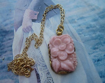 Vintage Pink Opaque Glass Floral On Gold Plated Chain