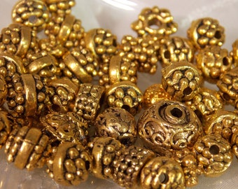 Antique Gold Beads~Antique Gold Ornate Beads~DIY Antique Gold Beads~Lot of Gold Beads