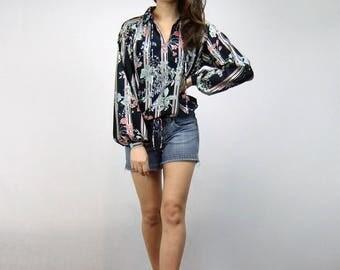 70s Sheer Floral Peasant Top Vintage See Through Boho Blouse Shirt - Medium to Large M L