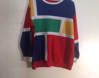 Vintage color block lightweight sweater