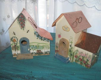 pair of vintage bird house