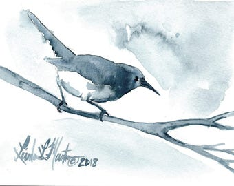 Wren Blues  Bird Original Watercolor painting LLMartin Free Shipping USA Nursery, New Mom , Country, Den