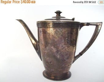 50% OFF EVERYTHING Heavily Tarnished Antique Art Deco Oneida Skyline Silver Plate Tea Coffe Pot 1930s 1940s