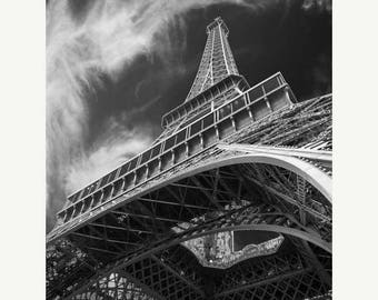 SUMMER SALE-Ends July 5- Eiffel Tower Print, Black and White Photo Paris Photography France Photograph Dreamy Wall Art Home Decor par78