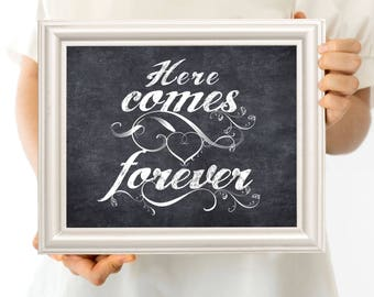 here comes forever wedding sign - printable file - faux chalkboard, ceremony signage, page boy sign, instant download, diy poster decoration