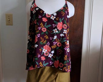 Ladies Rifle Paper Co Rayon top in eggplant floral/ Cotton and Steel/ Fall/ Cami/ handmade/ Les Fleurs/ menagerie