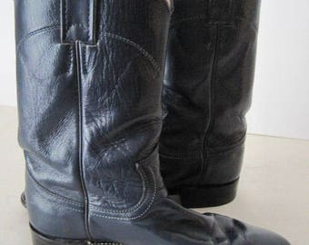 vintage Bright Navy Leather Riding Boots by Justin Boots - size 6 1/2 B