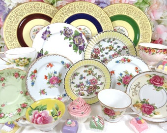 Fancy 20 Piece Mismatched Vintage Fine China Dinnerware Set, Service for 4 ~ Dinner, Salad Plates, Fruit/Dessert Bowls, Cups & Saucers