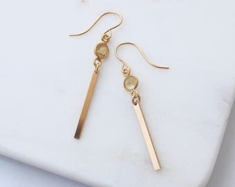 Yellow Citrine Gold Bar earrings - minimal and modern gold danglys
