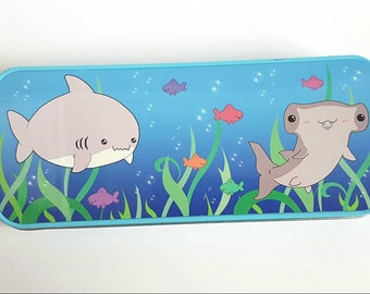 Shark pencil tin, shark pencil case, cute pencil tin, kawaii shark, kawaii stationary, cute stationary, school supplies, back to school