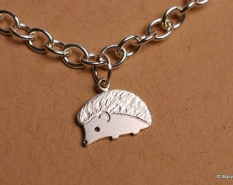 Tiny Hedgehog Charm Bracelet Sterling Silver
