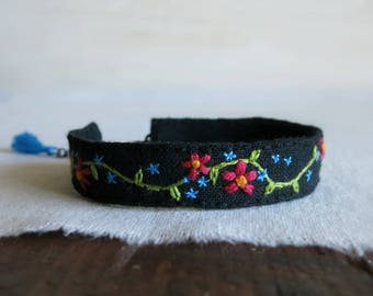 Hand Embroidered Boho Linen Cuff Bracelet - Floral Design on Black Linen Cuff Bracelet