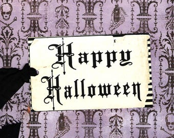 Halloween, Tags, Happy Halloween Text, Aged Look, Party Favors, Halloween Tags, Goodie Bags