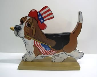 """Hand Painted Basset Hound Table Top Art - """"The Patriot"""" Tri-color"""