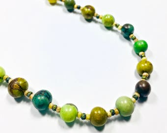 Shades of Green Beaded Necklace, Dyed Acai Necklace, Casual Beaded, Boho, Beach Beaded Necklace