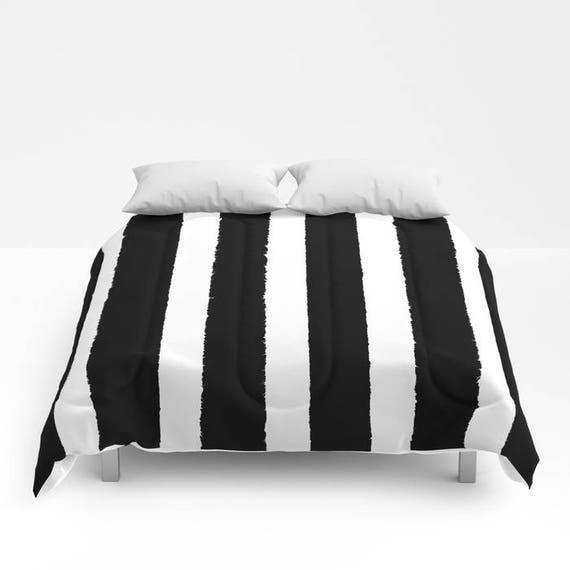 Black and White Stripe Comforter - Twin XL Comforter - Queen Comforter - King Comforter - Full Comforter - Twin Comforter Twin XL Bedding