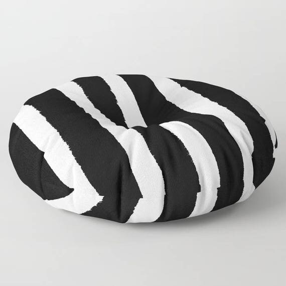 Black and White Striped floor cushion - Round cushion - Pillow - Round pillow - Black Striped Floor pillow - 26 inch pillow - 30 inch pillow
