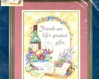 Friends are Life's Greatest Gifts Kit Bottle and Wine Glasses Bowl of Fruit Cheese Board Crackers Counted Cross Stitch Craft Pattern 13121