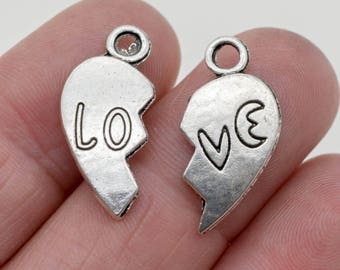 Broken Heart Charm,   18mm, Love, Silver Heart Pendant,   Valentine's Day Charms, Silver Charms - C469