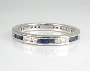Diamond and Platinum with Sapphires Eternity Band - Appraisal Included - 2195.00 USD