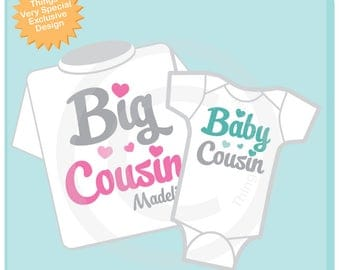 Set of 2 Personalized Pink and Grey Big Cousin and Teal and Gray Baby Cousin Shirt or Onesie Pregnancy Announcement 11202017d
