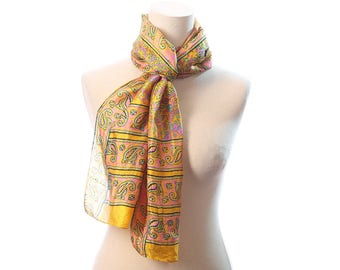 Silk Scarf 90s Patterned Abstract Long Muffle Vivid Colors Indian Natural Pure Silk Yellow Pink Bohemian Lightweight Girlfriend Gift