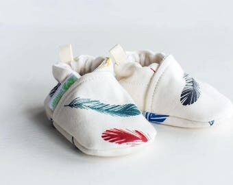 Organic Knits Vegan Feathers Multi / All Fabric Soft Sole Baby Shoes / Made to Order