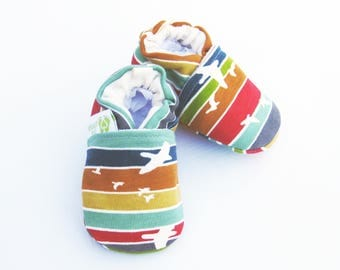 Organic Knits Vegan Flight in Rainbow Stripe / All Fabric Soft Sole Baby Shoes / Made to Order