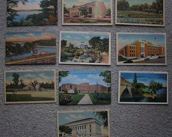 10 Linen Postcards Of Minnesota, Fair to Good Condition, 1940s