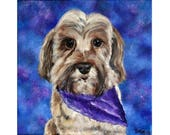 """RESERVED FOR KATIE - Teddy, dog portrait, dog painting, pet portrait, white dog painting, animal art, 12""""x 12"""" square canvas, Helen Eaton"""