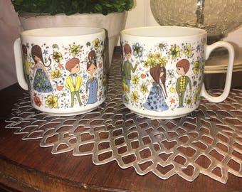 Vintage couples 2pcs cups set