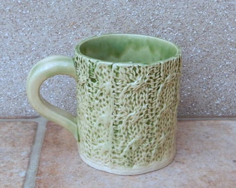 Coffee mug tea cup knitting texture knitted stoneware handmade ceramic pottery