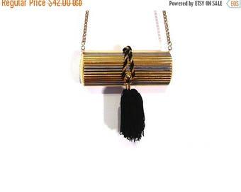 BTS SALE Vintage 90s Minimalist Gold & Silver Metal Black Tassel Pill Purse vestiesteam evening purse avant garde preppy Beverly Hills Hasti