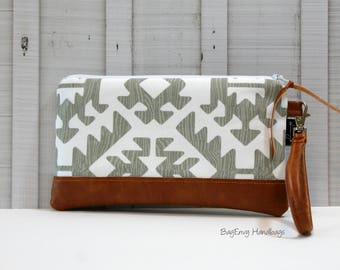 READY To SHIP - Grey Aztec with Vegan Leather - Zippered Wristlet Clutch /  Bridesmaid Gift- Accessory Make Up Bag -