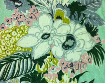 "40s A Co Fab Co Vat Print ""SAN JUAN""//Luscious Import//Pongee Floral//Chartreuse/White/Pink Flowers//Silver Green Leaves on Mint Ground"
