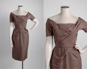 1950s Ceil Chapman sculptural brown silk dress * 5S960