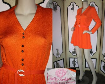 Vintage 1960's Mini Dress by Kelly Arden, One of the Four Sisters. Micro Mini Knit A-Line Dress with Long Sleeves and Belt. Small.