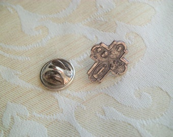 Small Vintage 4 Way  Religious Medal St Joseph Sacred Heart, St Christopher, Virgin Mary Pin