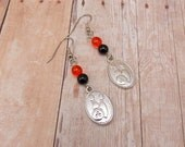 CUSTOM Earrings - Bowling Charms with Orange and Black Beads