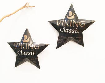 Viking Beer Can Stars, Choice of Flavor, Ferskur Og Mildur Bjor, Brewed by Viking Ölgerd Akureyri, Iceland, Christmas Ornament Stars