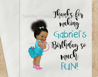 3 PAK African American Girl Birthday Party Favor Bags / 5x7 / Candy Popcorn Cookie Gift Bags / Turquoise / Personalized Custom / 3 Day Ship