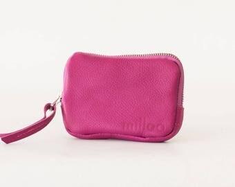 Zipper pouch in hot pink leather, coin purse zipper phone case money bag credit card zip purse - The Myrto Zipper pouch