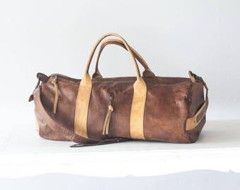 Mens duffel bag in dark brown, travel bag mens gym bag duffle bag mens carry on bag weekender bag crossbody bag - Nestor duffel bag