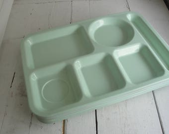 Vintage Mint Green Tray Melamine Set of 6 Cafeteria