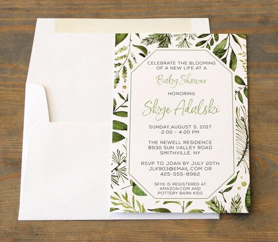 Botanical Baby Shower Invitation, Greenery Baby Shower Invitation, Botanical Watercolor Invitation, Gender Neutral Baby Shower Invitations