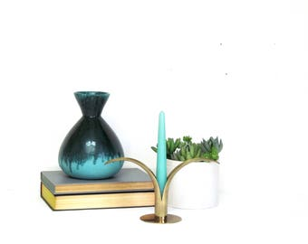 Vintage studio art pottery drip glaze vase teal and aqua