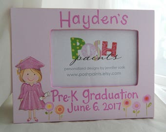 graduation frame, solid pink background, hand painted personalized frame holds 4x6 photo