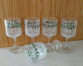 Vtg Libbey Lexington 6 oz Wine Goblet White Drizzle Holly Berry Christmas Glassware Set