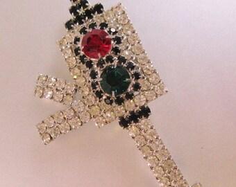 SHIPS 6/26 w/FREE Jewelry Art Deco Rhinestone Antique Traffic Signal Light Brooch Pin Big Vintage Costume Jewelry Jewellery