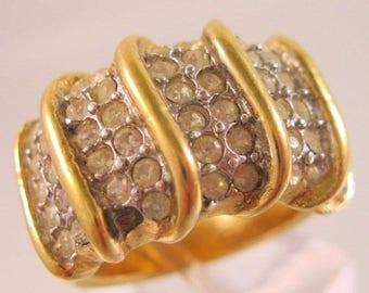 XMAS in JULY SALE Espo Joseph Esposite 14Kt Ge Rhinestone Statement Ring Size 6.5